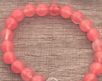 Cherry Glass Bead Stretch Bracelet