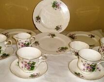 Royal Grafton china set- imperfect fine bone china serving dishes- Royal Grafton purple floral fine china- vintage tea sets- pattern 2030