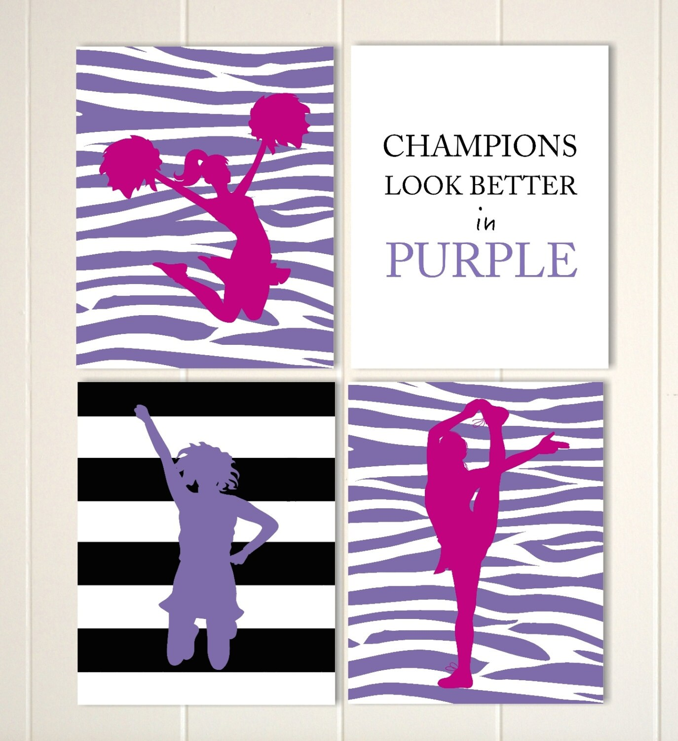 Girls Wall Decor Cheer Leader Wall Art Cheer Decor Zebra - cheer bow wall decoration designs