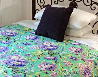 Twin Queen King  Duvet Cover/ Amy Butler Love Bliss Bouquet Emerald/ Dorm room duvet/ Girl's Linen Duvet Cover