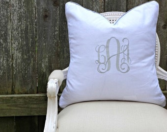 Monogrammed Piped White Linen Pillow Cover/ 20x20 Toss Pillow /Accent Pillow/  Designer Custom Linen Pillow Cover