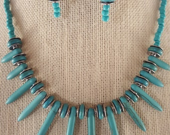 Turquoise Statement Necklace & Earring Set