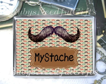 Mustache Cigarette Case, Cigarette Box, Metal Cigarette Case, Metal Wallet, Birthday Gift, Gift for Him, Best Friend Gift, MyStache.