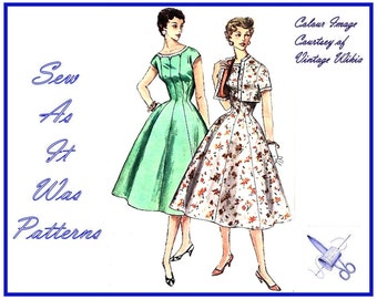 "1950s Unused Rockabilly Princess Seamed Flared Skirt Dress & Bolero Jacket Simplicity 1534 Vintage Sewing Pattern Size 14 Bust 32"" 81cm"