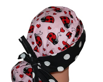 Surgical Scrub Hat Scrub Chef Vet Chemo Cap Front Fold Ponytail Scrub Hat - Red Pink Black White Ladybugs Hearts - 2nd Item Ships FREE