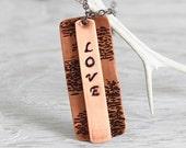 Copper Love Pendant, Copper Necklace, Handstamped Pendant Necklace, Hammered Pendant, Love Necklace, Copper Jewelry, Unique Necklace, Copper