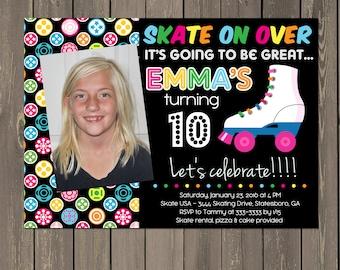 Roller Skating Birthday Invitation, Skate Party Invitation, Girls Roller Skating Invitation, Bright Bold Skate Party, Tween, DIY or printed