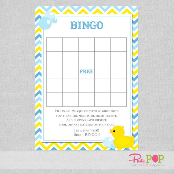 Rubber Duck Baby Shower Bingo Duck Printable Bingo Game