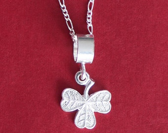 Lucky IRISH SHAMROCK Pendant Charm ~ Solid 925 Sterling Silver Pendant and Necklace