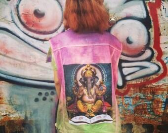 elephant indian god on dye jeans jacket