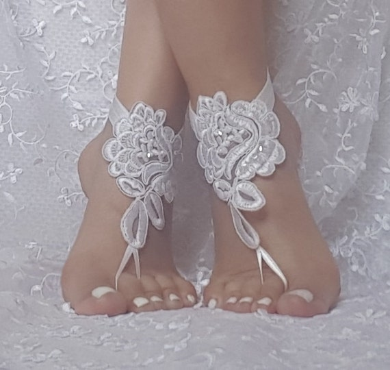 White or black beaded lace barefoot sandals, beach wedding, bridal barefoot sandals, wedding shoe, bellydance, bridesmaid gift, accessories