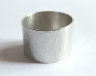 large ring hammered sterling silver