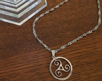 BDSM Triskele Symbol Day Collar - Stainess Steel Chain
