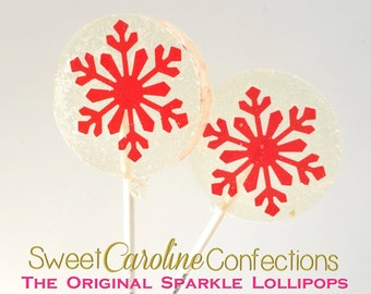 Red Snowflake Lollipops, Snowflake Lollipops, Christmas Lollipops, Candy Lollipops, Lollipops, Sweet Caroline Confections-Set of Six