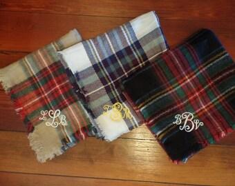 Plaid Blanket Scarf/Monogram Blanket Scarf/Plaid Scarf/Monogram Scarf