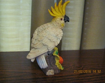 Vintage parakeet resin figurine used