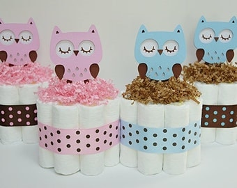 Baby Owl Mini Daper Cake, Baby Shower Centerpiece
