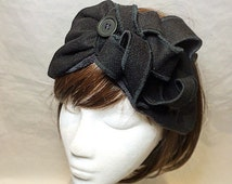 Black half turban, Turban, Alice band, 1940s turban, headscarf, hippie boho band, black head scarf