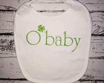 Irish O'Baby Bib, St. Patrick's Day Bib, Irish Baby Gift, Irish Gifts