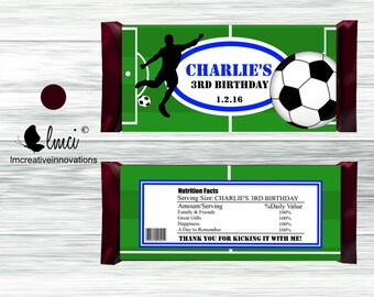Soccer Candy Bar Wrappers, Party Favors - Digital File