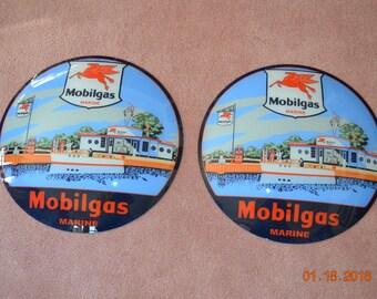 "One Set 15"" Mobilgas Marine Gas Pump Globe Lenses Older Reproduction Mobilgas Marine Gas Station Service Station Advertising Signs Petroleum"