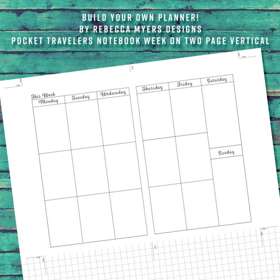 Build your own planner pocket field note 15 weeks on two page for Build your own planner