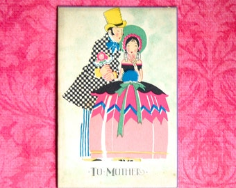 Vintage Art Deco Mother's Day Card, Early 1930s