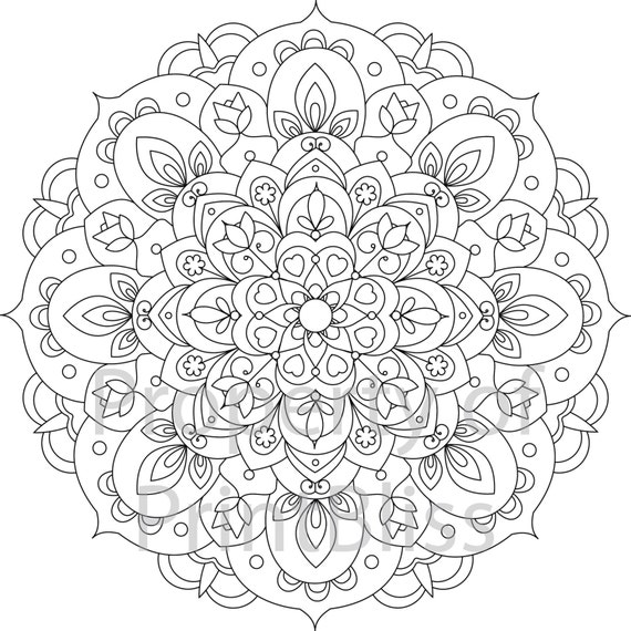 12 flower mandala printable coloring page. Black Bedroom Furniture Sets. Home Design Ideas