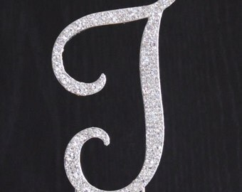 New Style Rhinestone Crystal Monogram Letter J Wedding Cake Topper 4 x 2.5 inches