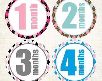 Baby Milestones, Month Photo Prop Stickers,  12 Month Stickers, Monthly Milestone, Newborn Stickers, Monthly Age Stickers, Argyle