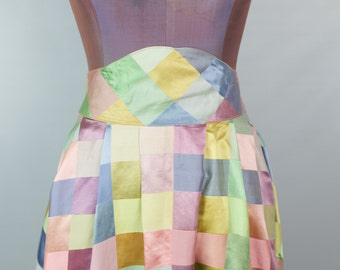 Amazing 1970s or 1980s Satin Patchwork Ankle Length Handmade Skirt in Pastels