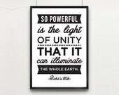 "PRINTED INSPIRATIONAL QUOTE on Unity // 8""x10"" or A4 // Baha'i Quote: ""So powerful is the light of unity.."" by Baha'u'llah"
