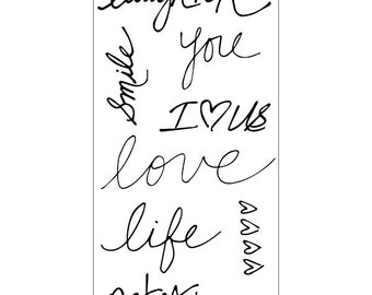 Fiskars Clear Stamp Set - HANDWRITTEN STAMPS Laughter xoxo notesTeresa Collins cc71