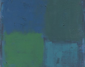 large green blue square abstract print