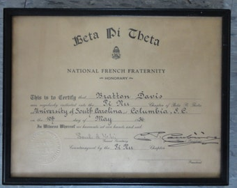 AWARD CERTIFICATE - Beta Pi Theta National French Fraternity - University of South Carolina - May 1936 - College Props