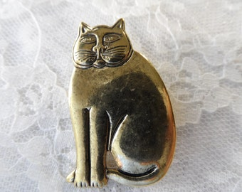 "Cast gold metal whimsical cat,1&1/2"",1pc-KC82"