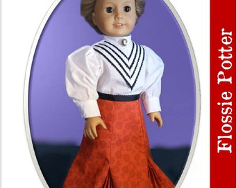 Pixie Faire Flossie Potter Turn of the Century Skirt Doll Clothes Pattern for 18 inch AG Dolls - PDF