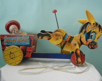 Vintage Wooden Pull Toy Bucky Burro Donkey with cart and rider