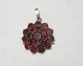 Antique Victorian Bohemian Garnet Rosette pendant, Valentine gift