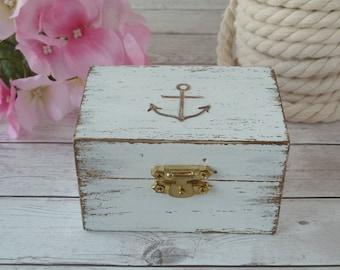 Beach Wedding Ring Box Anchor Ring Holder Personalized Ring Bearer Nautical Wedding Decoration Seashell Wedding Custom Color