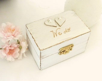 Rustic Chic Wedding Ring Bearer Box Ring Pillow, We do White Wedding Ring Box with Hearts Personalized Wedding Ring Holder Engagement