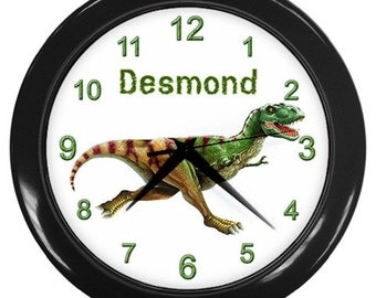 T-REX DINOSAUR Print Wall Clock, Boys Room Home Decor, Office Gift Time
