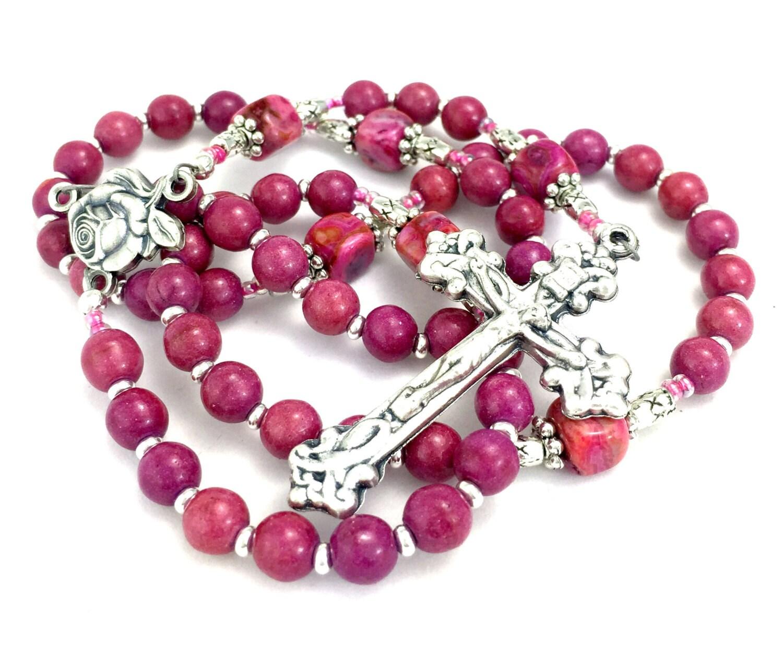 bright pink gemstone rosary fuchsia agate rosary fuchsia