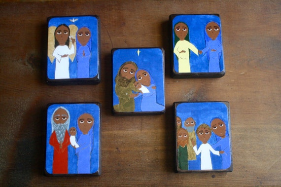 "Full set of 5 Joyful Mysteries of the Rosary in Byzantine/ Folk Style on 2.5"" X3.5"" wood by DL Sayles"