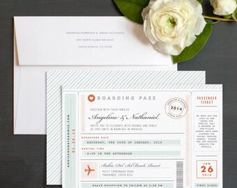 Vintage Boarding Pass Wedding Invitation Sample