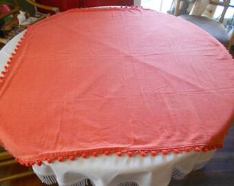 "SALE-43"" Square Orange Tablecloth w/PomPom Fringe"