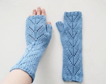 Light Blue Mittens (fingerless gloves, arm warmers)