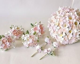 Cherry Blossom Wedding Set Keepsake Blush Roses White Calla Lilly Bridal Bouquet Pink Clay