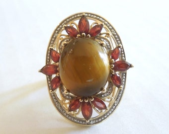 Tiger's Eye, Garnet, and Diamond Ring in Yellow Gold