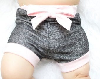Baby Shorts- Pink and Black Heather